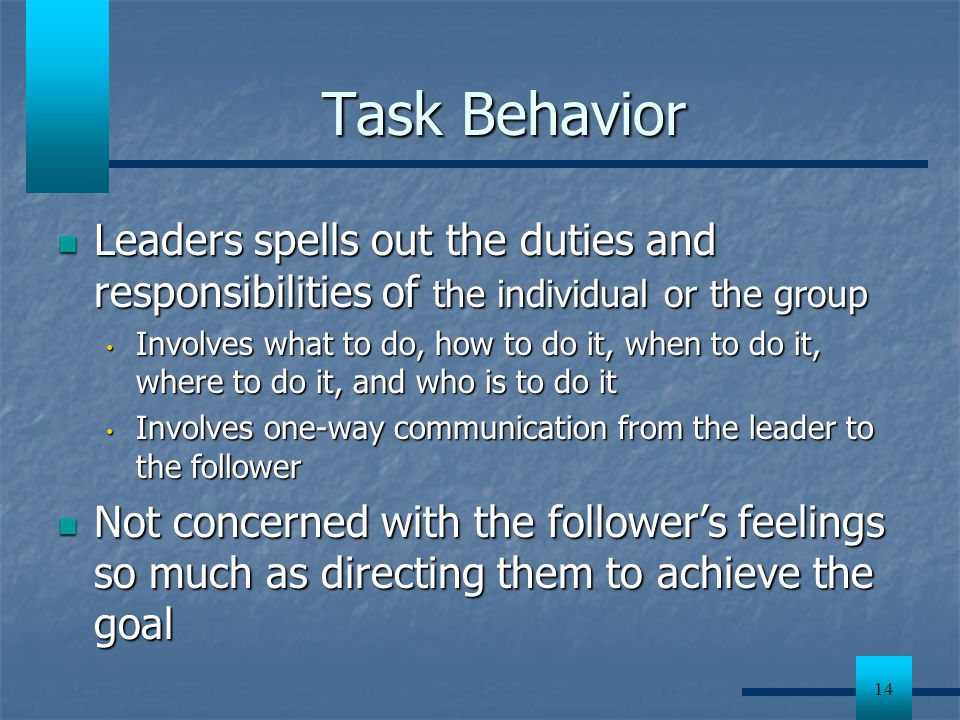 Task Behavior Leaders spells out the duties and responsibilities of the individual or the group.