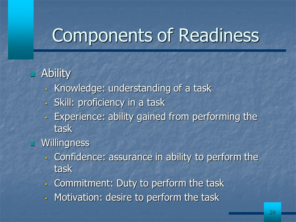 Components of Readiness