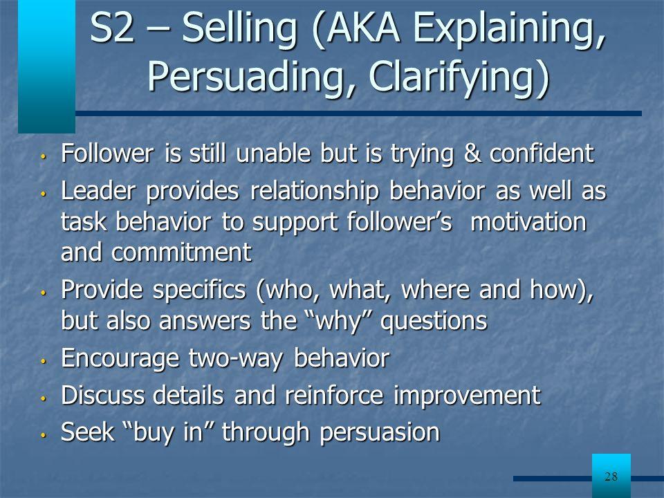 S2 – Selling (AKA Explaining, Persuading, Clarifying)