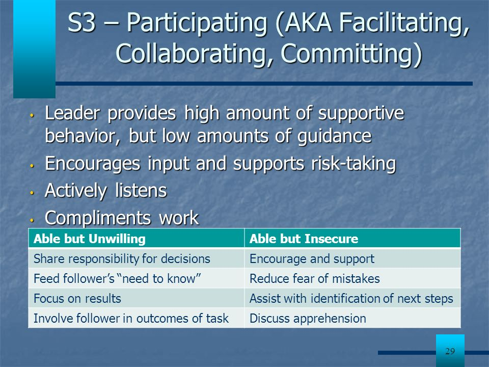 S3 – Participating (AKA Facilitating, Collaborating, Committing)