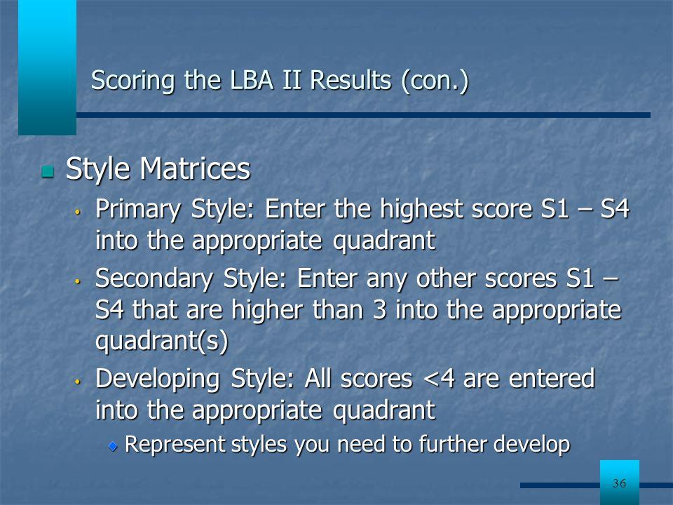 Scoring the LBA II Results (con.)