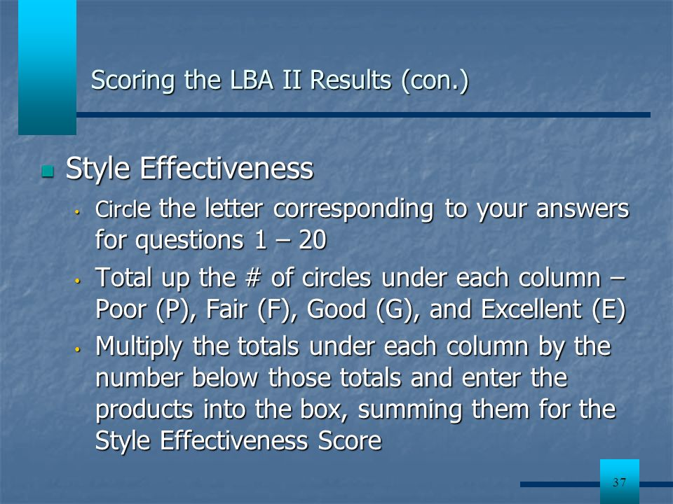 Scoring the LBA II Results (con.)