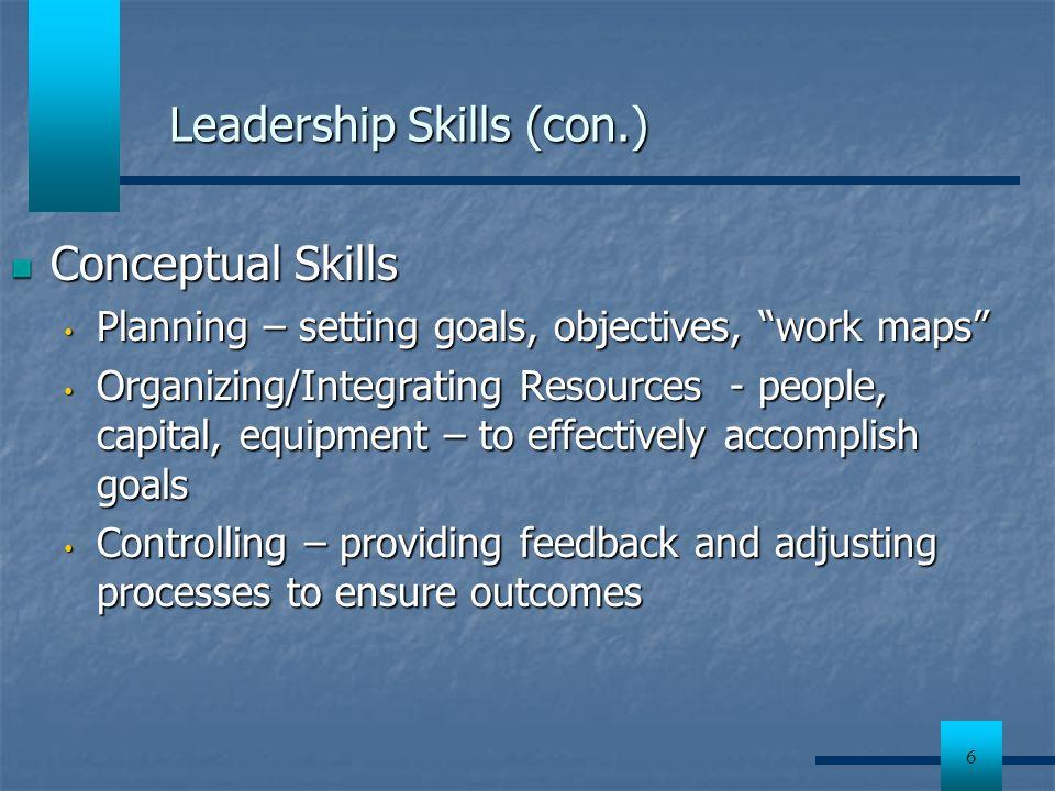 Leadership Skills (con.)