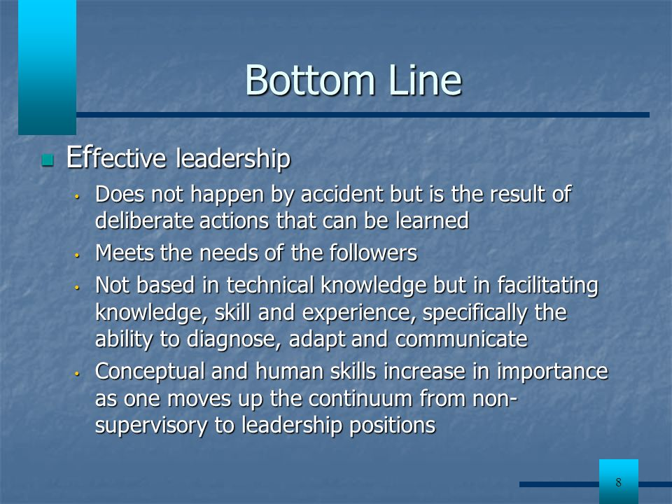 Bottom Line Effective leadership