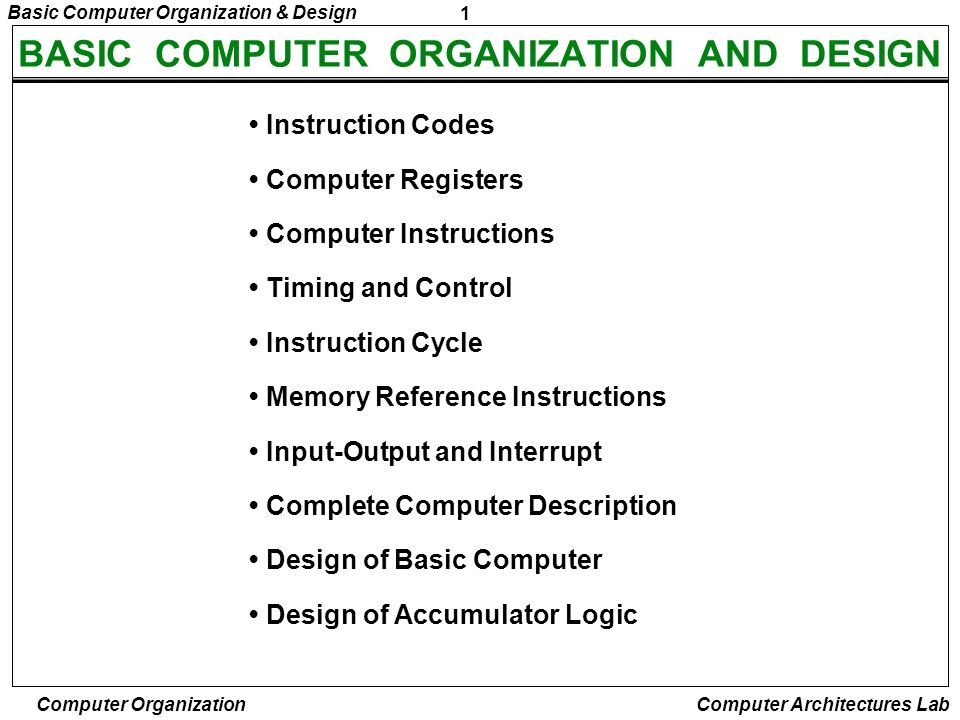 BASIC COMPUTER ORGANIZATION AND DESIGN