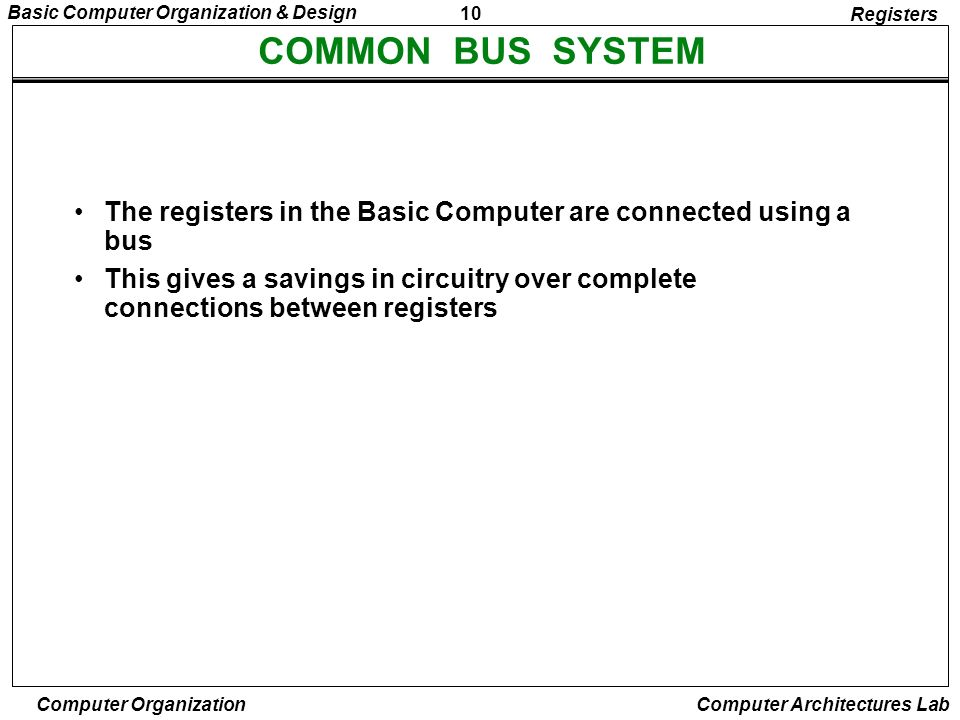 RegistersCOMMON BUS SYSTEM. The registers in the Basic Computer are connected using a bus.
