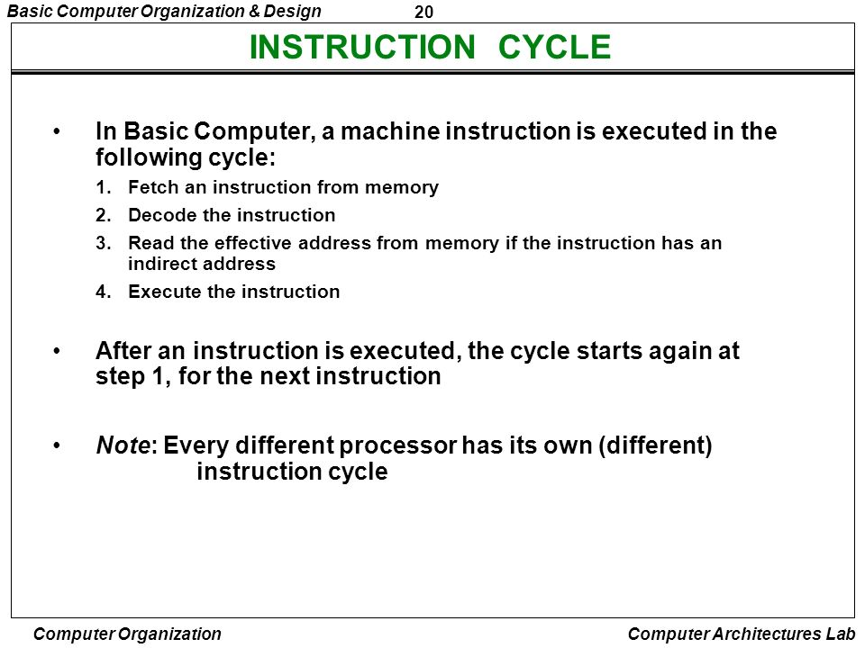 INSTRUCTION CYCLE In Basic Computer, a machine instruction is executed in the following cycle: Fetch an instruction from memory.