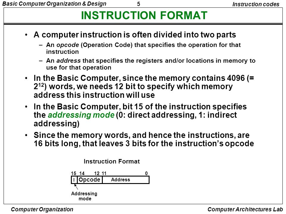 Instruction codes INSTRUCTION FORMAT. A computer instruction is often divided into two parts.
