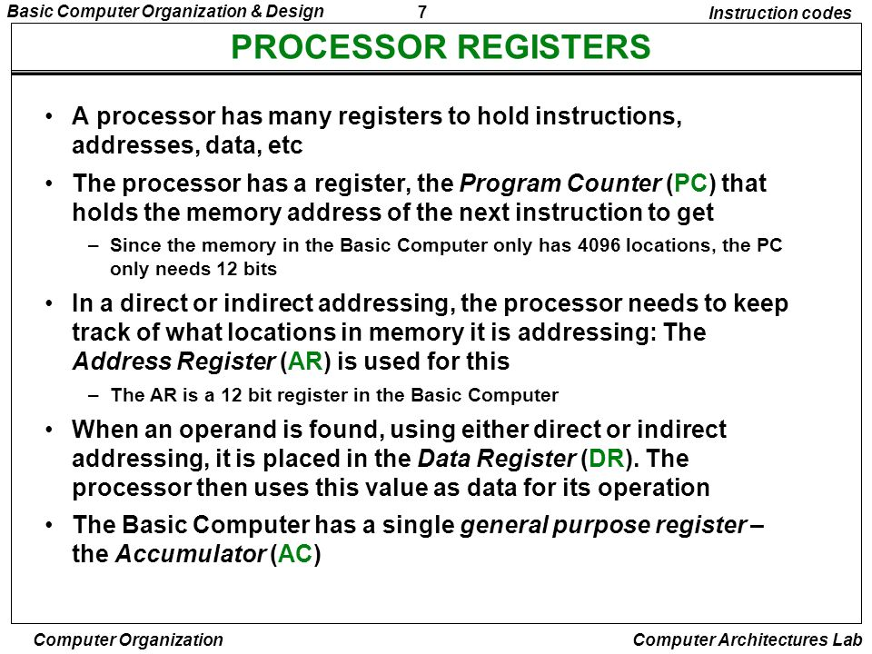 Instruction codesPROCESSOR REGISTERS. A processor has many registers to hold instructions, addresses, data, etc.