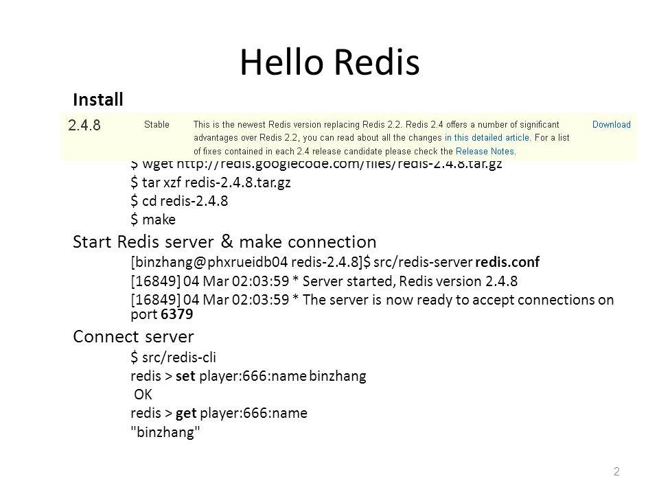 Hello Redis Install Start Redis server & make connection