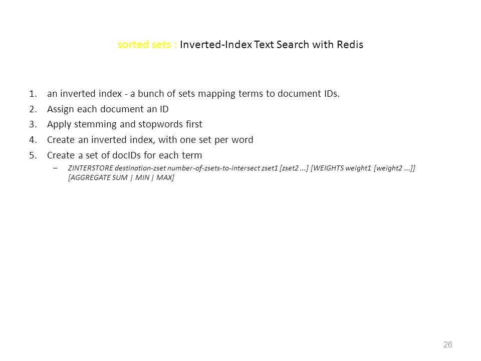 sorted sets : Inverted-Index Text Search with Redis