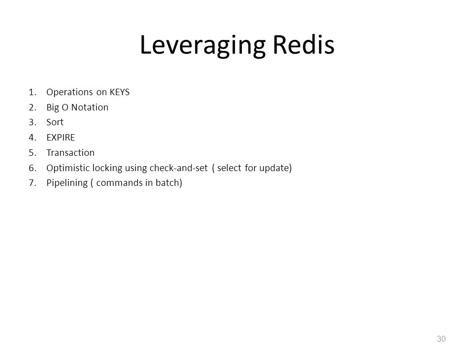 Leveraging Redis Operations on KEYS Big O Notation Sort EXPIRE