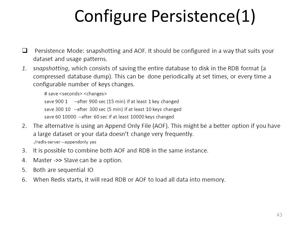 Redis Admin and maintenance: Configure Persistence(1)