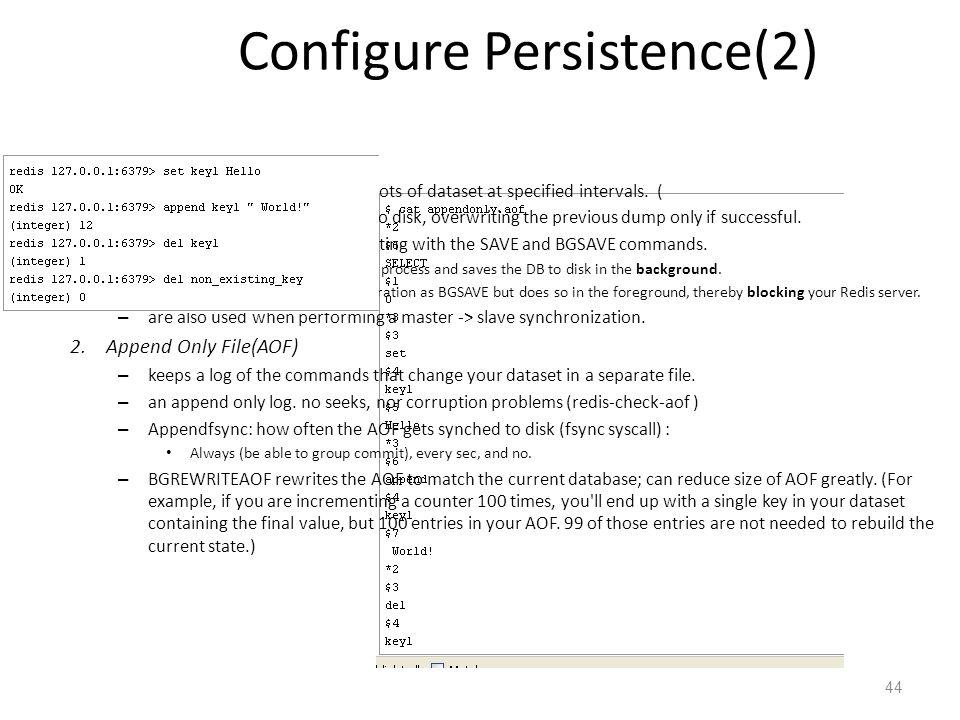 Redis Admin and maintenance: Configure Persistence(2)