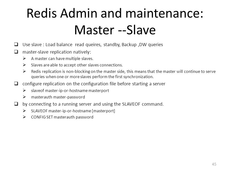 Redis Admin and maintenance: Master --Slave