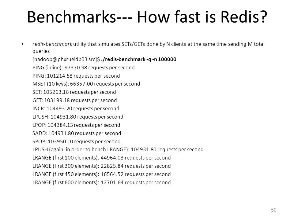 Benchmarks--- How fast is Redis