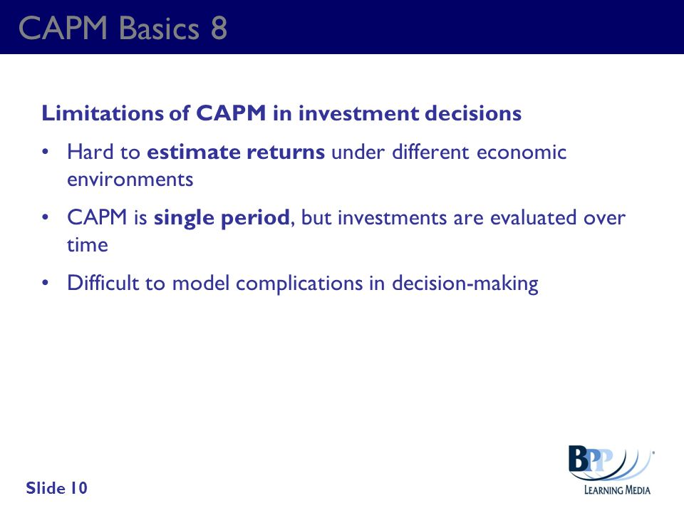 CAPM Basics 8 Limitations of CAPM in investment decisions