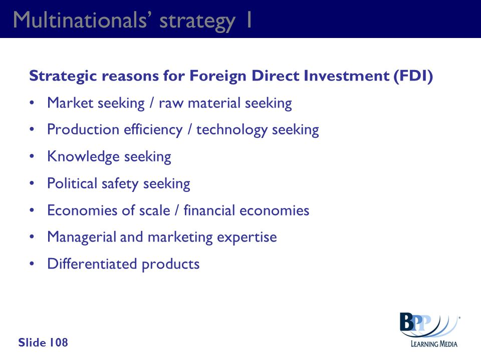 Multinationals' strategy 1