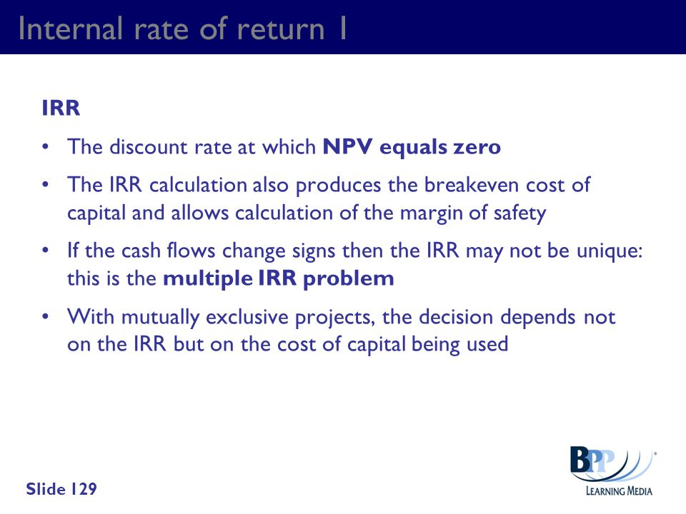 Internal rate of return 1