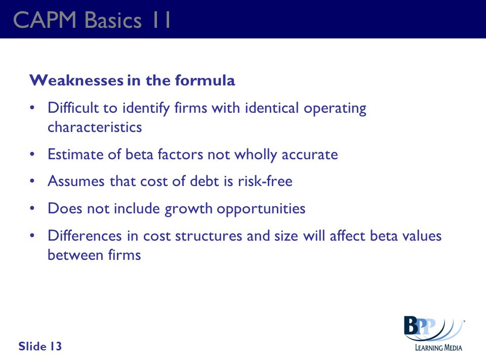 CAPM Basics 11 Weaknesses in the formula