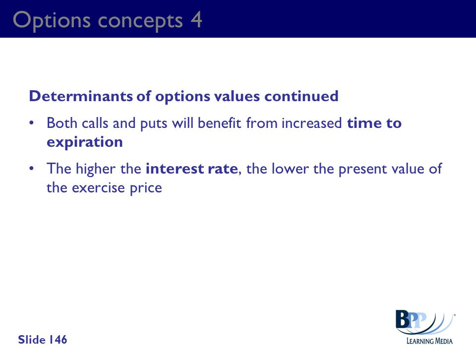 Options concepts 4 Determinants of options values continued