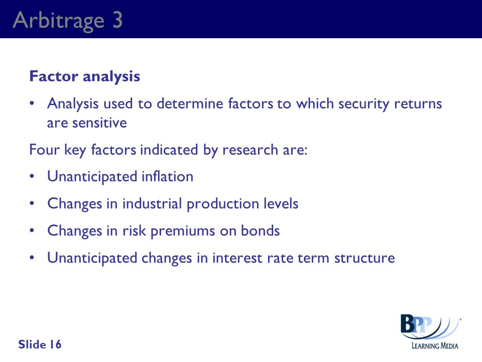 Arbitrage 3 Factor analysis