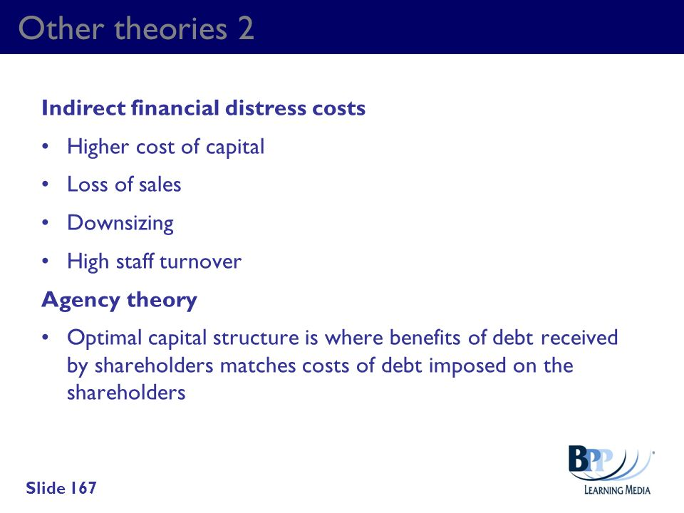 Other theories 2 Indirect financial distress costs