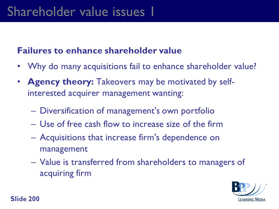 Shareholder value issues 1