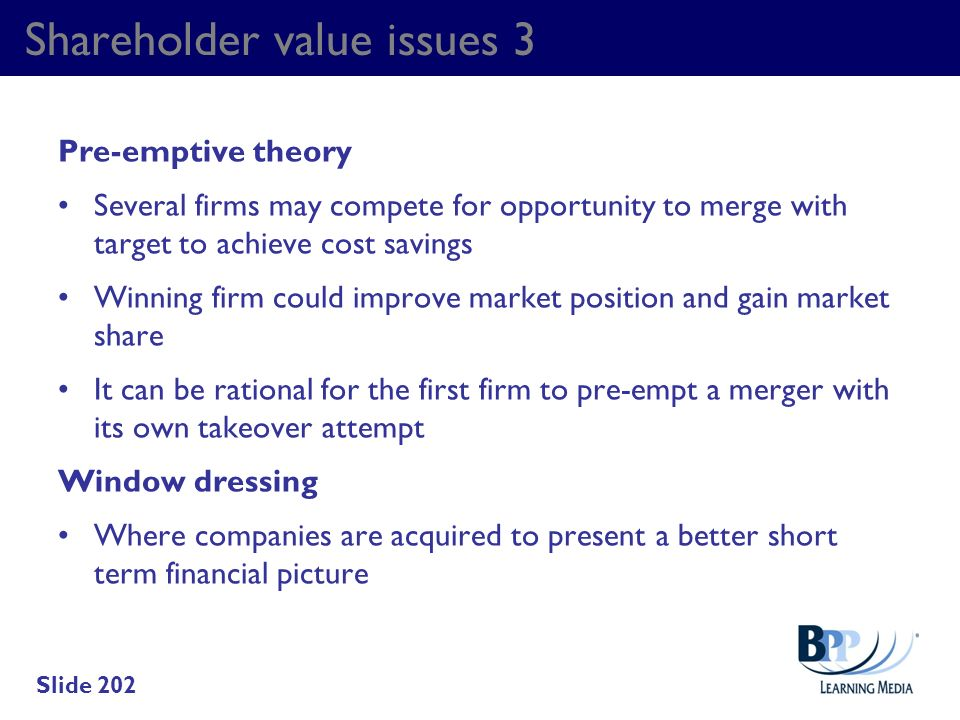 Shareholder value issues 3