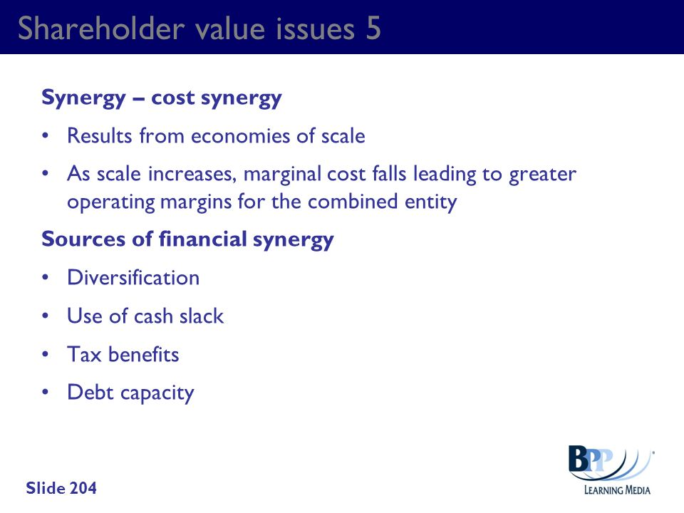 Shareholder value issues 5