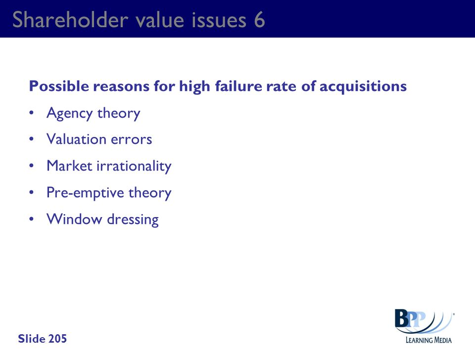 Shareholder value issues 6