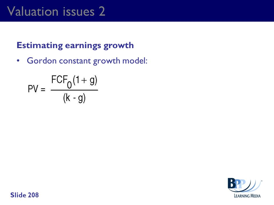 Valuation issues 2 Estimating earnings growth