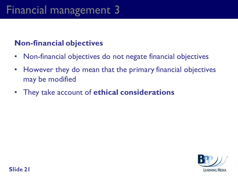 Financial management 3 Non-financial objectives