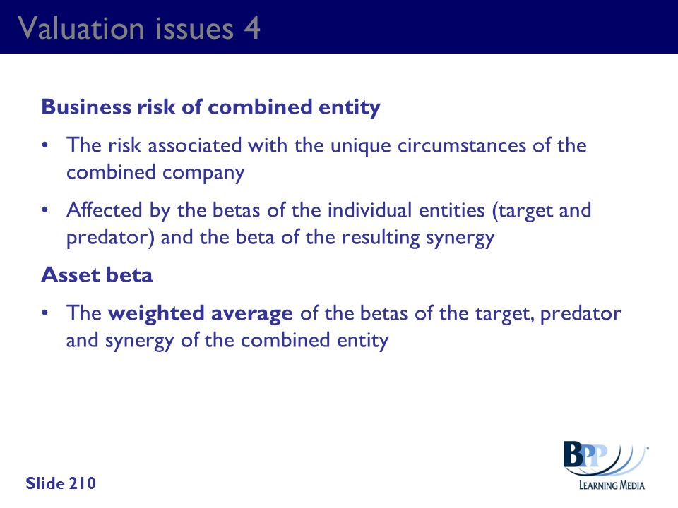 Valuation issues 4 Business risk of combined entity