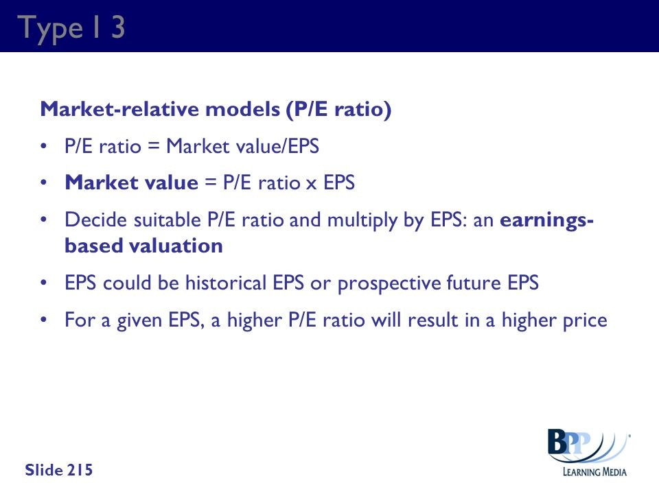 Type I 3 Market-relative models (P/E ratio)