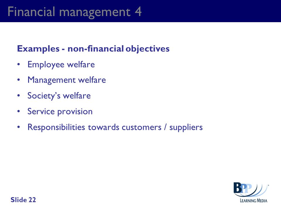Financial management 4 Examples - non-financial objectives