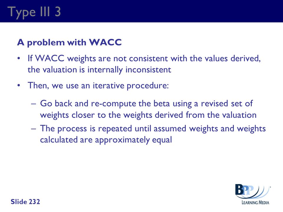 Type III 3 A problem with WACC