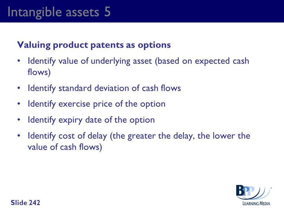 Intangible assets 5 Valuing product patents as options