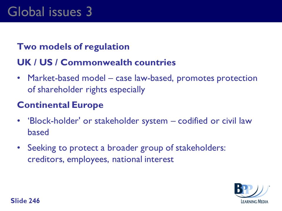 Global issues 3 Two models of regulation
