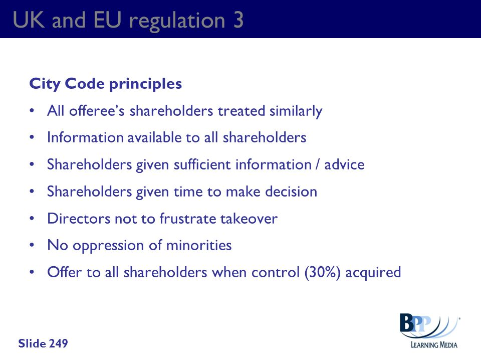 UK and EU regulation 3 City Code principles