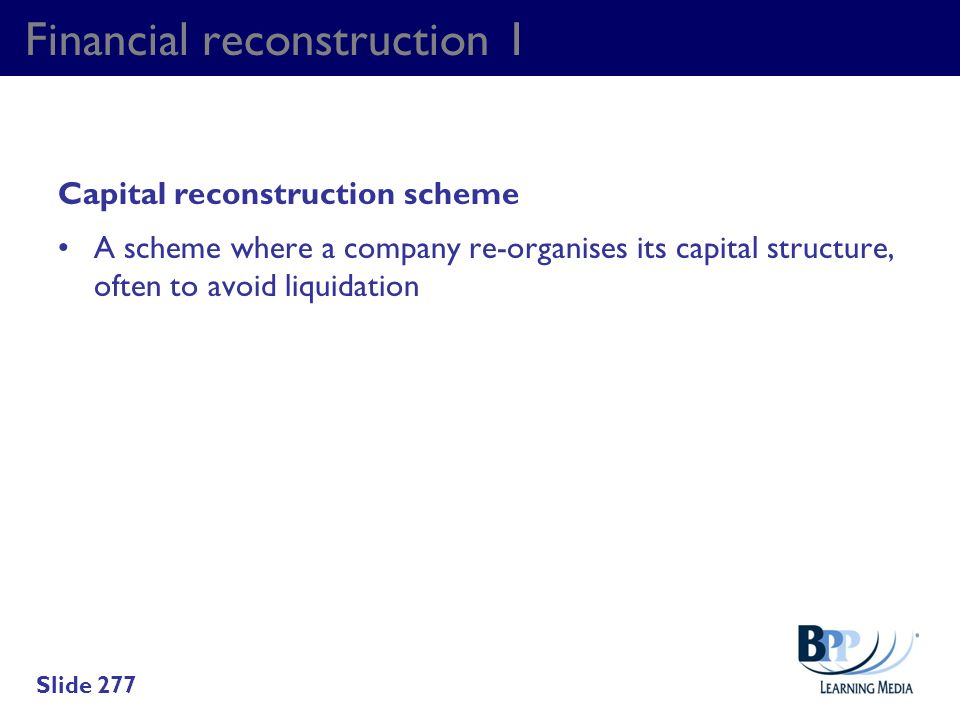 Financial reconstruction 1