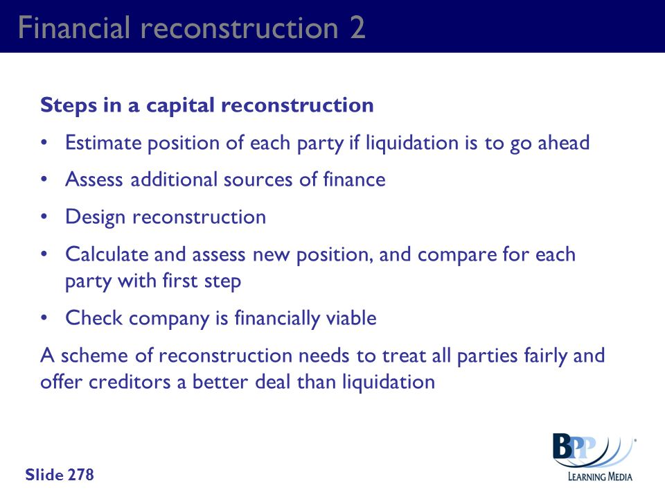 Financial reconstruction 2