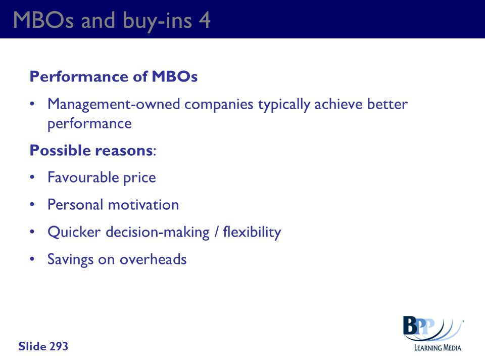 MBOs and buy-ins 4 Performance of MBOs