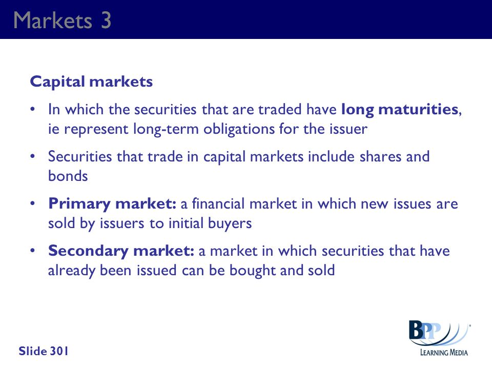 Markets 3 Capital markets