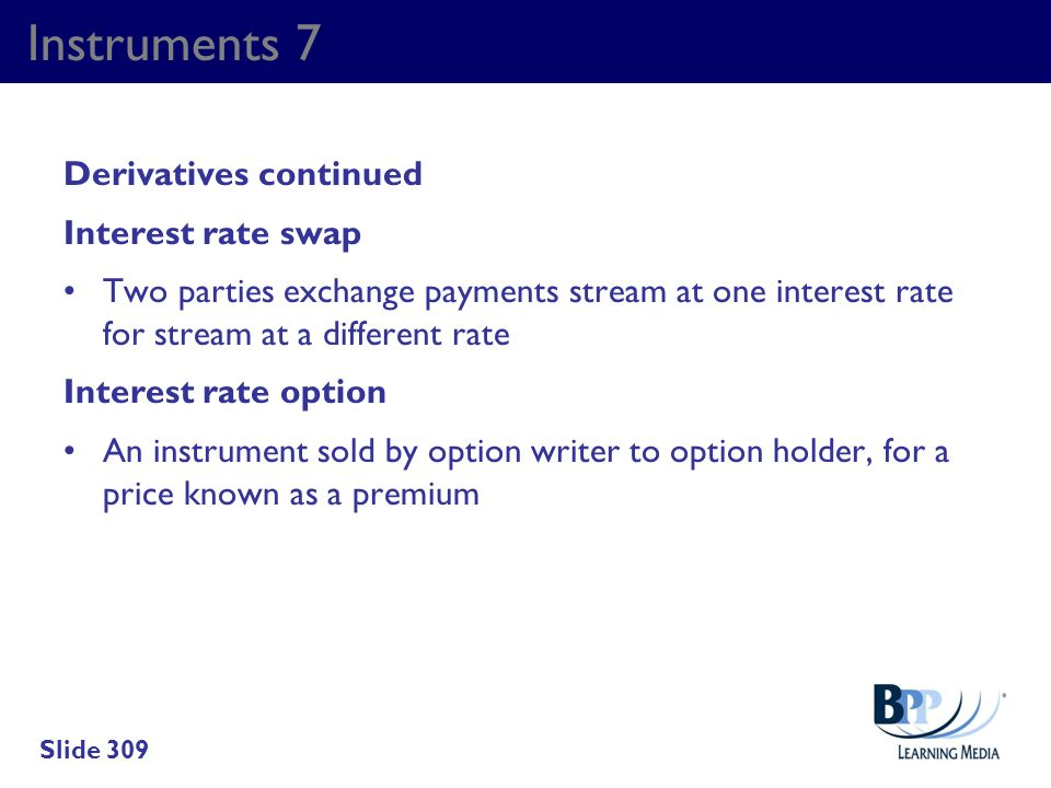 Instruments 7 Derivatives continued Interest rate swap