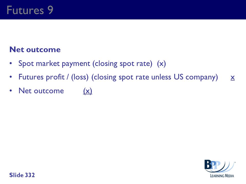 Futures 9 Net outcome Spot market payment (closing spot rate) (x)