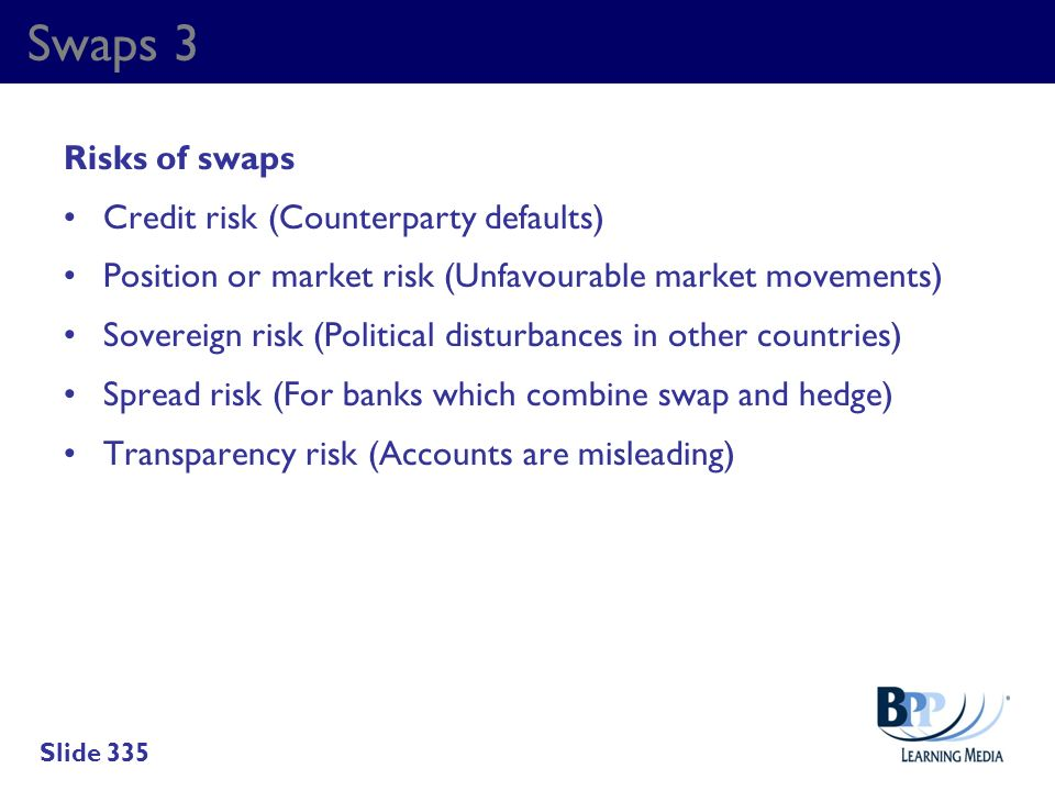 Swaps 3 Risks of swaps Credit risk (Counterparty defaults)