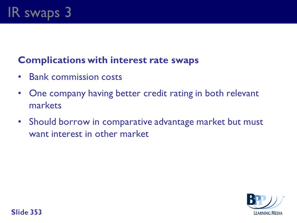 IR swaps 3 Complications with interest rate swaps