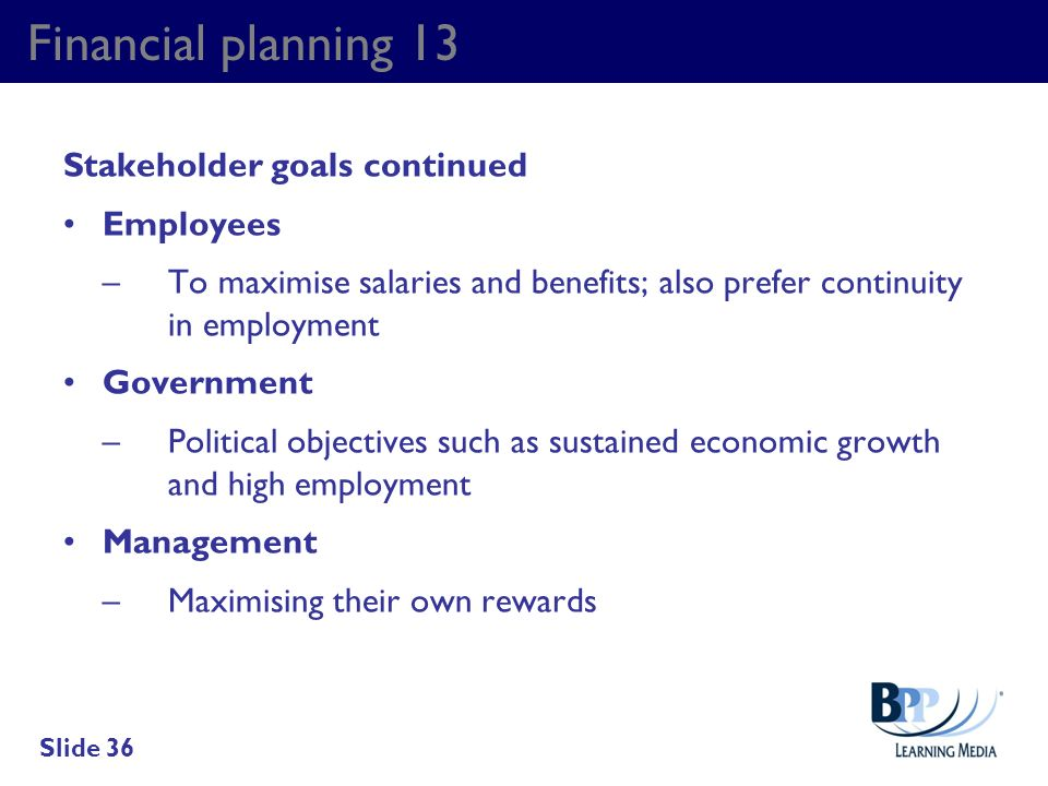 Financial planning 13 Stakeholder goals continued Employees