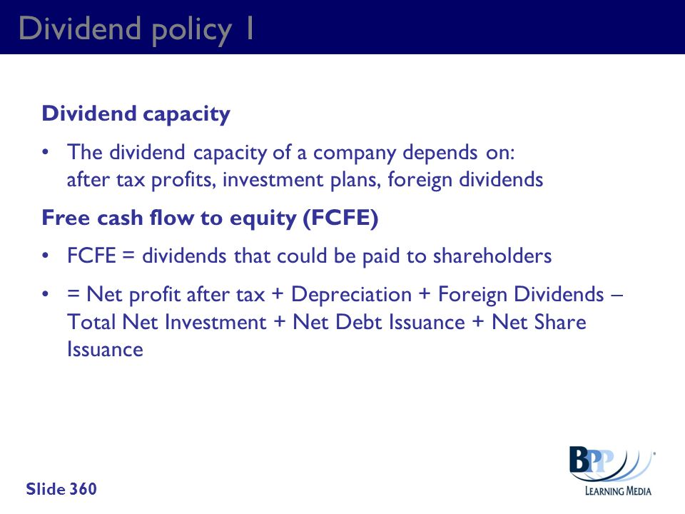Dividend policy 1 Dividend capacity